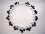 Picture of Black Onyx, Fresh Water Pearls, Swarovski Crystals and 925 Silver Components