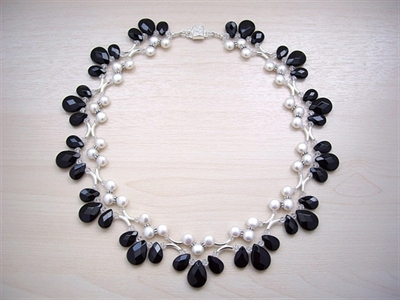 Picture of Black Onyx, Swarovski Crystals, Fresh Water Pearls and 925 Silver Components