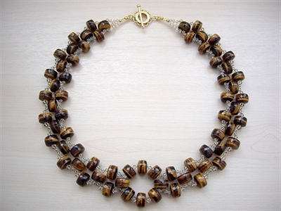 Picture of Tiger's Eye, Swarovski and 24 carat Gold plated Components