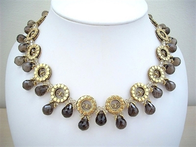 Picture of Smoky Quartz, Swarovski Crystals and 24 carat Gold plated Components