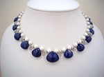 Picture of Fresh Water Pearls, Lapis Lazuli and 925 Silver Components