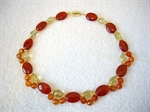 Picture of Carnelian, Lemon Quartz and 24 carat Gold plated Components