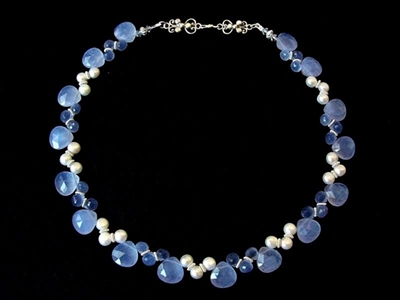 Picture of Fresh Water Pearls, Blue Chalcedony and 925 Silver Components