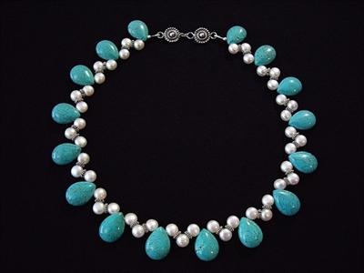 Picture of Fresh Water Pearls, Howlite and 925 Silver Components