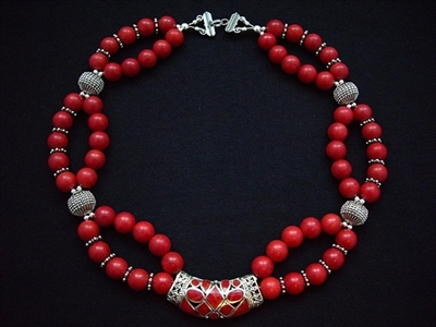 Picture of Red Sponge Coral and 925 Silver Components