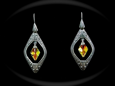 Picture of Swarovski and Antique Silver Brass earrings.