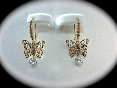 Picture of Rhodium butterfly earrings